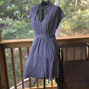 French connection black and white sash dress
